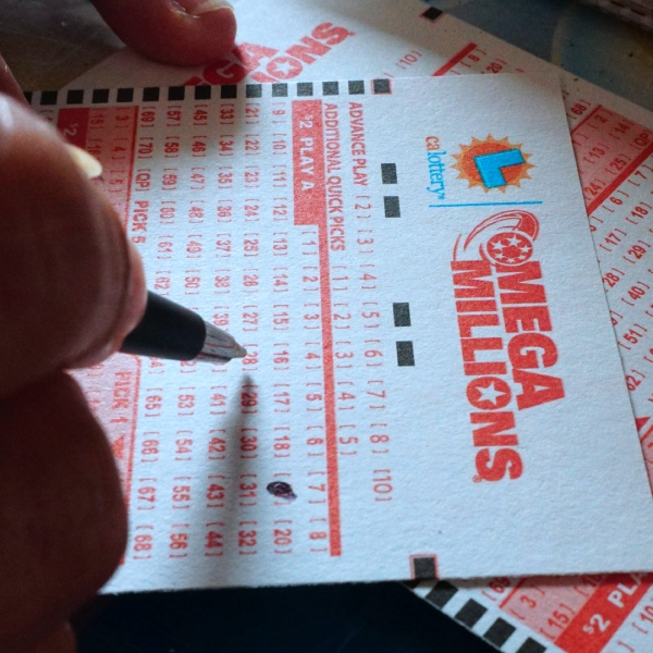 Numbers are selected on a Mega Millions lottery ticket in Los Angeles, California on October 23, 2018. (Credit: Frederic J. Brown/AFP/Getty Images)