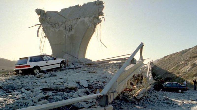 Damage from the Northridge earthquake is seen in a photo in January 1994. (Credit: Los Angeles Times)