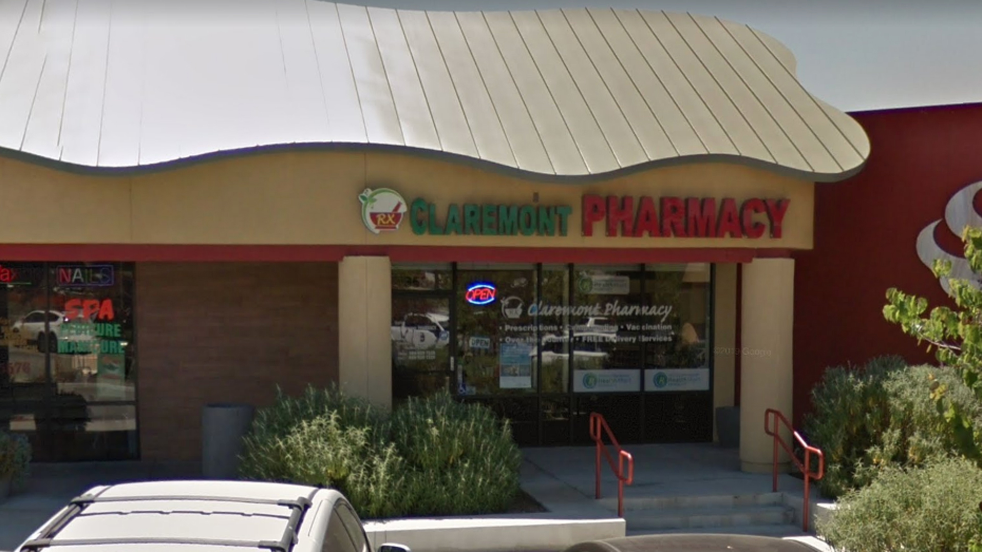 The Claremont Pharmacy, 358 S. Indian Hill Blvd. in Claremont, as pictured in na Google Street View image in May of 2017.