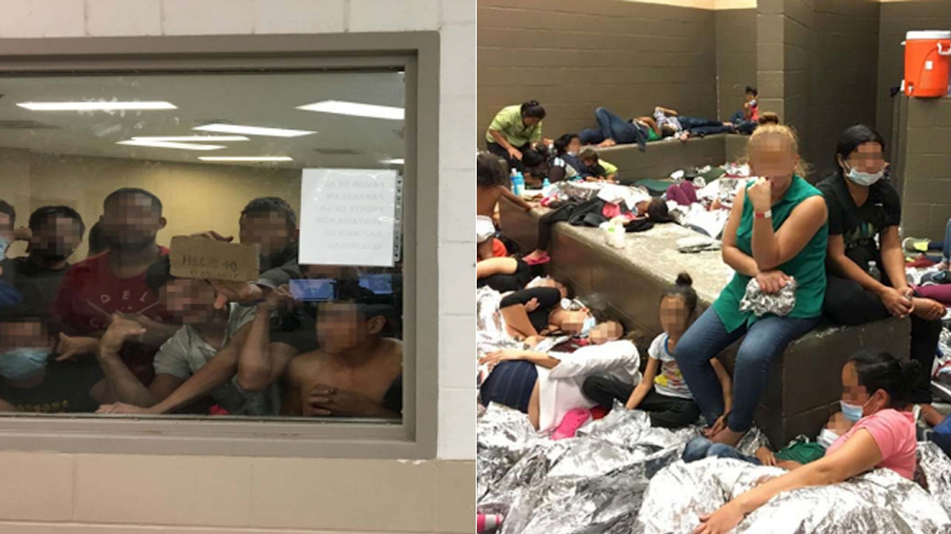 "A migrant holds up a ""help"" sign in a cell, left; overcrowding of families is seen at another facility, right. (Credit: Office of Inspector General)"