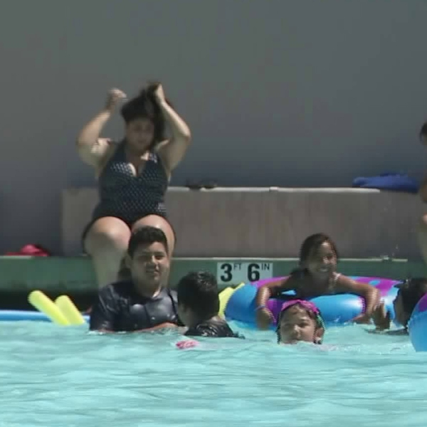 A community pool in Lincoln Heights reopened on July 1, 2019, after being closed for 10 years. (Credit: KTLA)