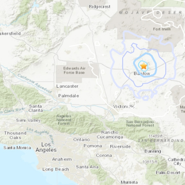 The epicenter of a preliminary magnitude 3.7 earthquake in the Barstow area on July 11, 2019, is seen in this image from the U.S. Geological Survey.