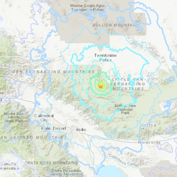 A 4.2 quake centered near Twentynine Palms hit on July 22, 2019. (Credit: USGS)