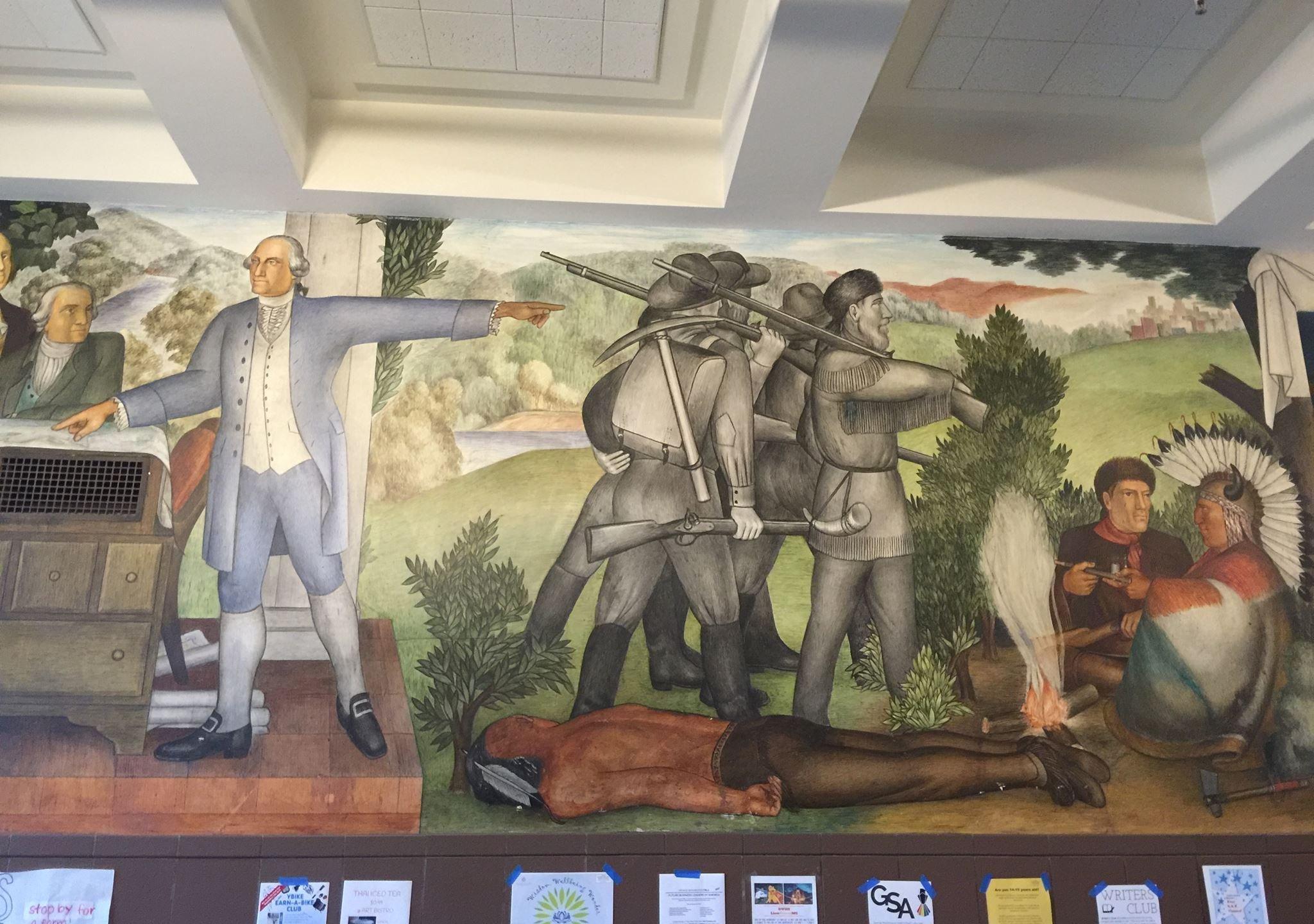 "The 1936-era fresco, ""Life of Washington"" mural is seen at George Washington High School in San Francisco on Jun 26, 2019. (Credit: Amy Anderson via CNN)"