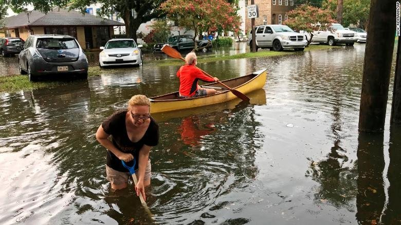 The Broadmoor neighborhood in New Orleans was flooded on July 10, 2019. (Credit: Nick Reimann/Associated Press)