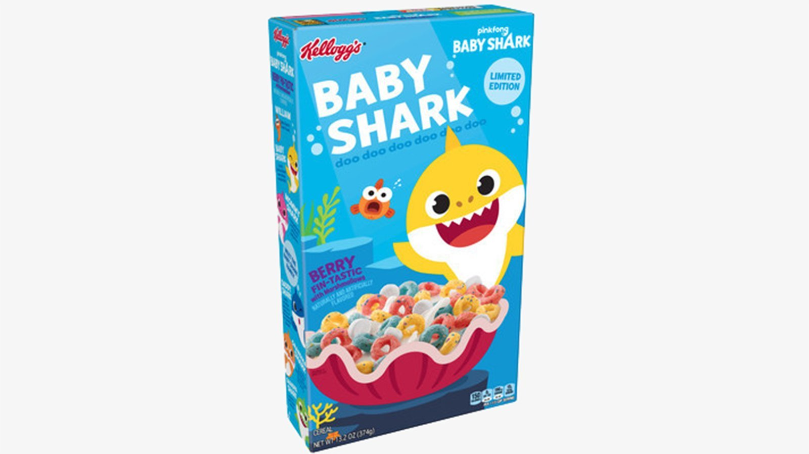 """Baby Shark"" will soon be swimming in bowls of milk as kids sing along to the popular song's ""doo doo doo doo doo doo."" (Credit: Kellogg's via CNN)"