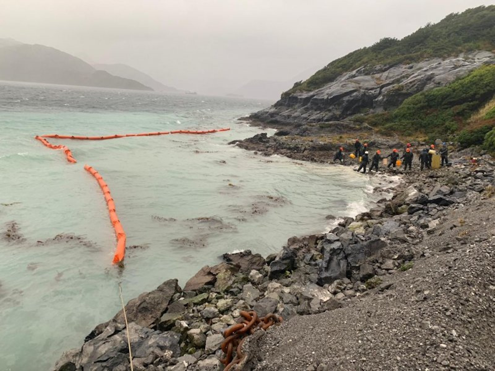 The Chilean Navy responds to an oil spill on Guarello Island on July 27, 2019 in this photo obtained by CNN.