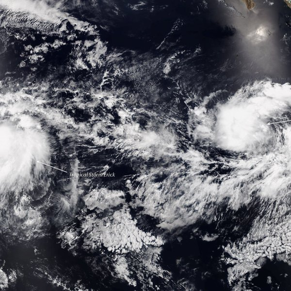 Erick has grown in strength from a tropical storm to a hurricane in the eastern Pacific Ocean, according to the National Hurricane Center. (Credit: NOAA)