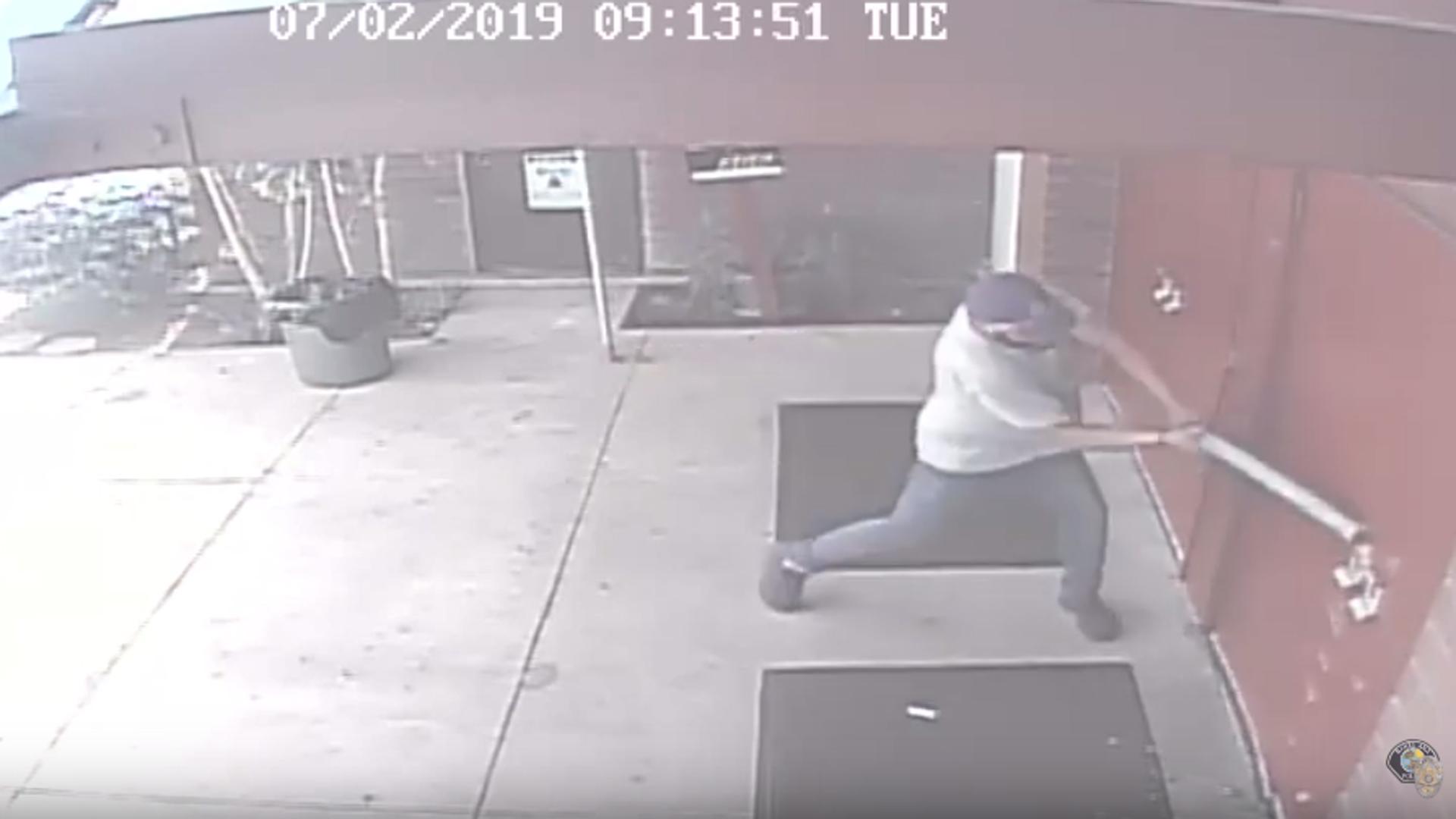 A man was caught on camera smashing open a Santa Ana church on July 2, 2019. (Credit: Santa Ana Police Department)