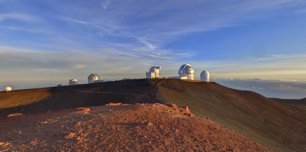 Observatories are seen on Mauna Kea in this image from Google Maps.