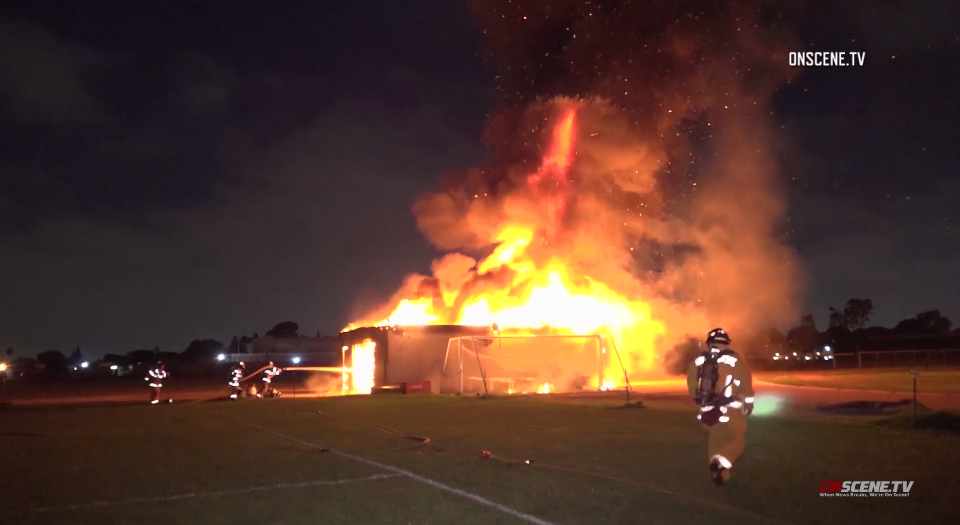 Firefighters battle a fire in an equipment shed at Magnolia High School in Anaheim on July 17, 2019. (Credit: Onscene.tv)