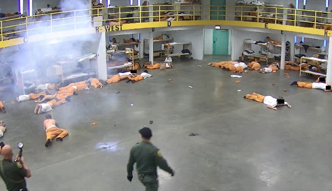 This undated photo shows an incident in which less-lethal munitions were used to diffuse large-scale fights within an Orange County Jail, according to Sheriff's officials. (Credit: Orange County Sheriff's Department/ Facebook)