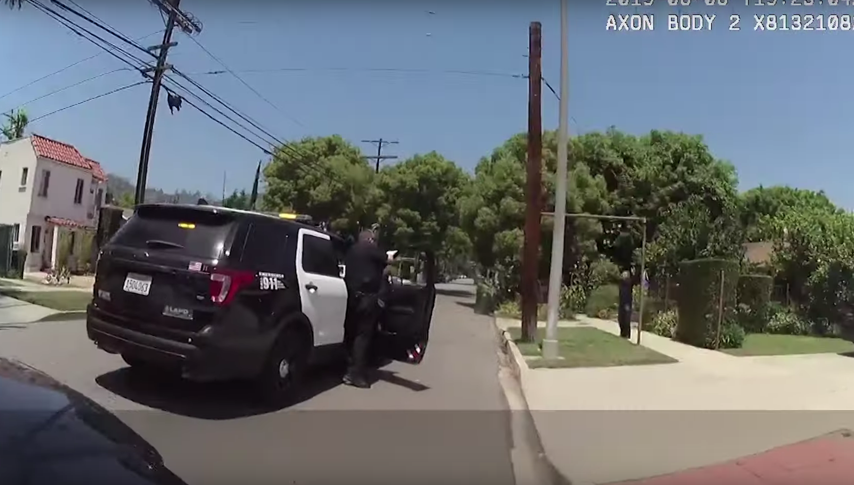 A still from a video recorded by a bodycam worn by a Los Angeles police officer shows an officer confronting Jose Antonio de Santiago-Medina in Atwater Village on June 6, 2019.