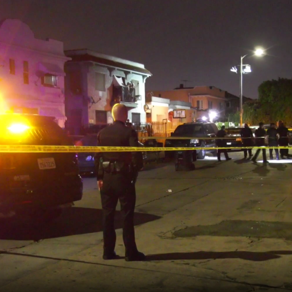 Officers respond to the scene of a shooting in the Historic South-Central neighborhood of South Los Angeles on July 25, 2019. (Credit: RMG)