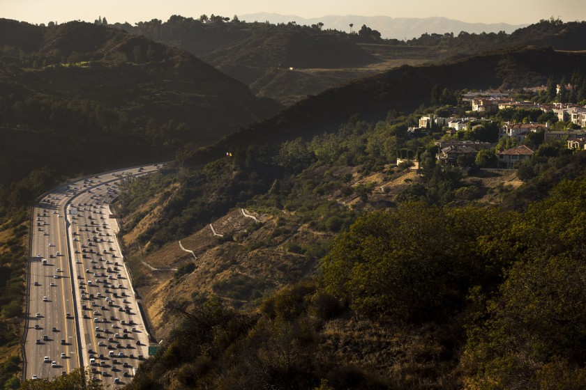 The 405 Freeway is seen in a file photo. (Credit: Kent Nishimura / Los Angeles Times)