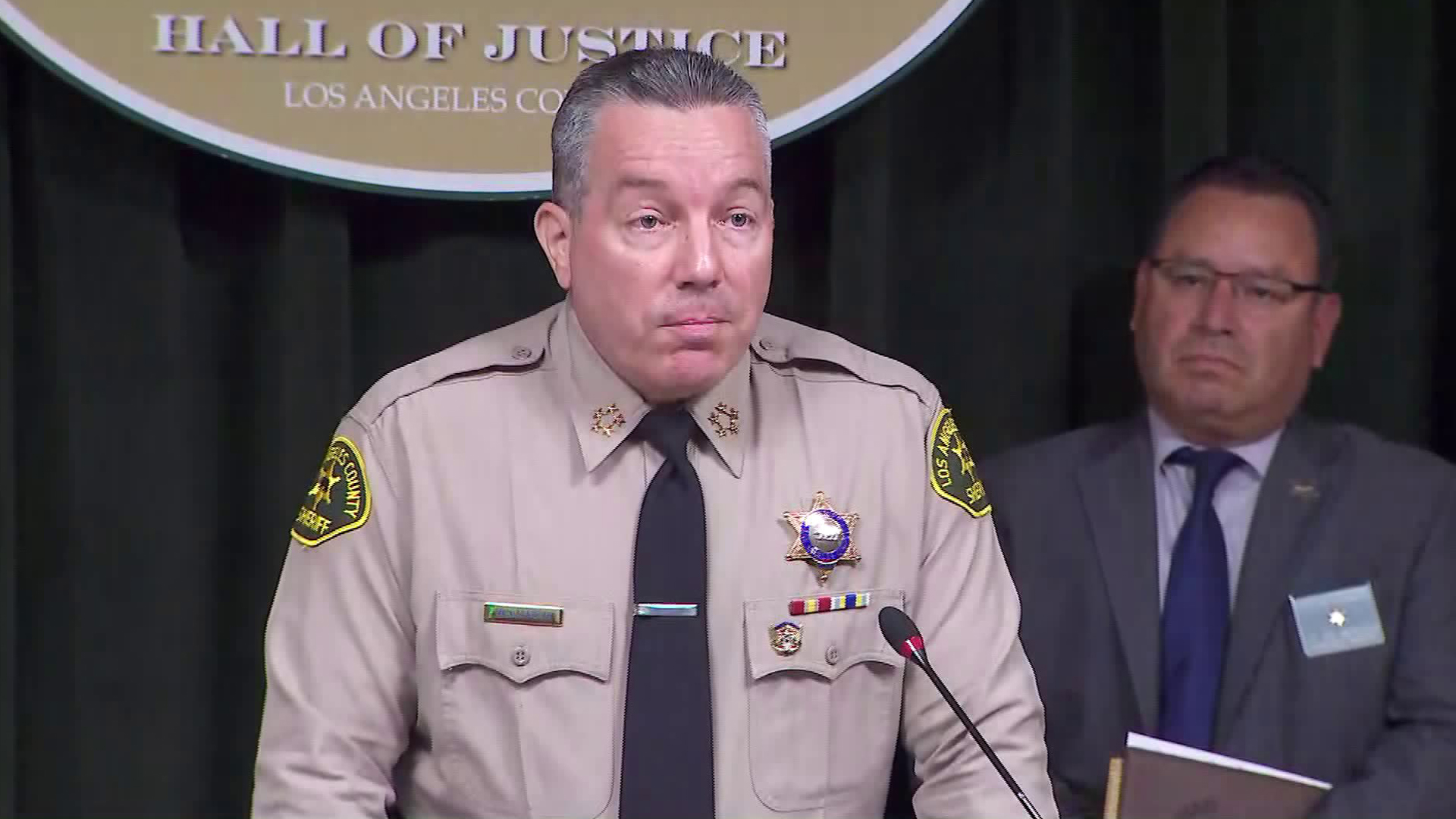Los Angeles County Sheriff Alex Villanueva speaks at a press conference at the Hall of Justice in downtown L.A. on July 9, 2019. (Credit: KTLA)