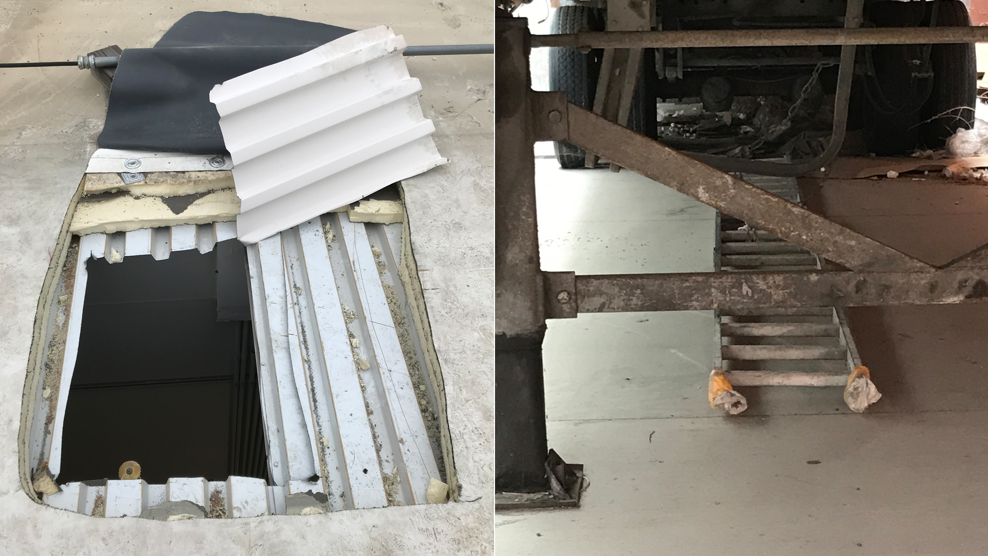 Simi Valley police released these images on July 8, 2019 of a hole in a the roof of a Best Buy and a ladder used in a burglary.