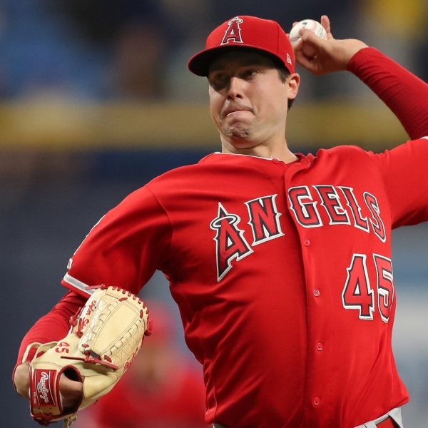 Tyler Skaggs of the Los Angeles Angels throws in the first inning of a baseball game against the Tampa Bay Rays at Tropicana Field on June 13, 2019 in St. Petersburg, Florida. (Credit: Mike Carlson/Getty Images)