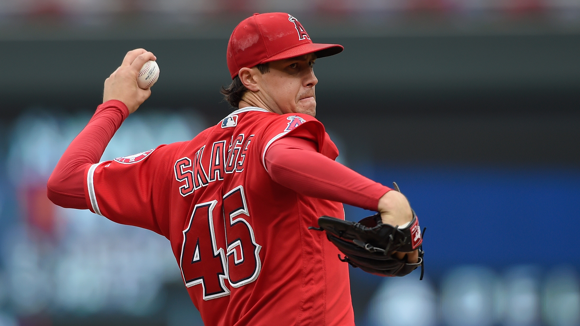 Tyler Skaggs of the Los Angeles Angels of Anaheim delivers a pitch against the Minnesota Twins during the first inning of the game on June 9, 2018 at Target Field in Minneapolis. (Credit: Hannah Foslien/Getty Images)