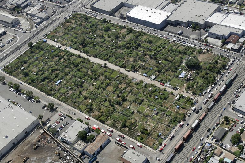 The 14-acre site on Alameda Street once known as the South Central Farm is shown. (Credit: Javier Manzano / Los Angeles Times)