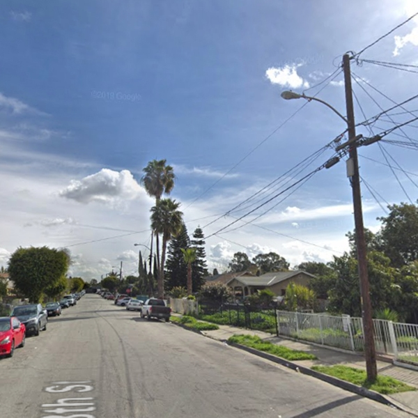 The area of South L.A. where a man was fatally shot on July 21, 2019 is seen in this undated image. (Credit: Google Maps)