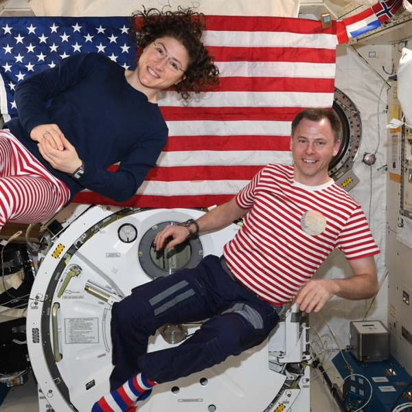 NASA's Christina Koch and Nick Hague celebrated the Fourth of July in space. (Credit: Nick Hague/ NASA)