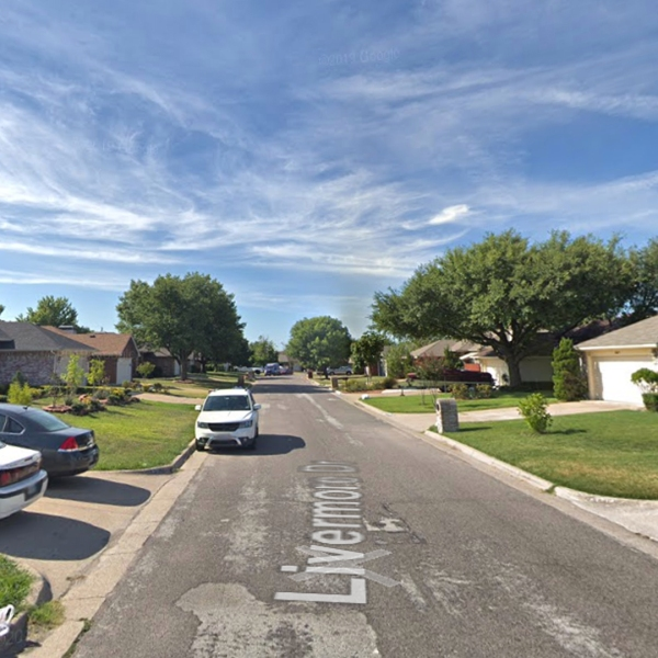 This Google Maps shows the 5200 block of Livermore Drive in Arlington, Texas, where police were investigating a suspected murder-suicide.