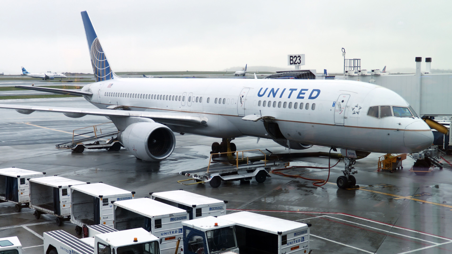An United Airlines plane is seen parked at the gate on April 23, 2019, at Boston Logan International Airport. (Credit: DANIEL SLIM/AFP/Getty Images)