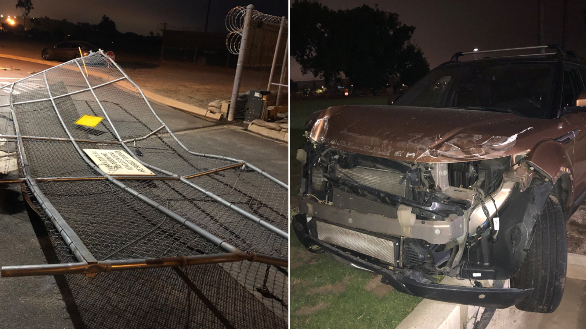 The scene of a crash outside the James A. Musick jail facility near Irvine on July 29, 2019. (Credit: Orange County Sheriff's Department/ Twitter)