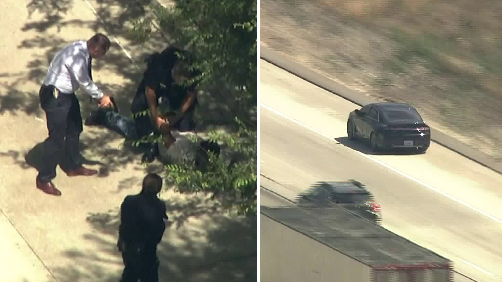 Authorities taken one person into custody after a pursuit in the Sherman Oaks area on July 19, 2019. (Credit: KTLA)
