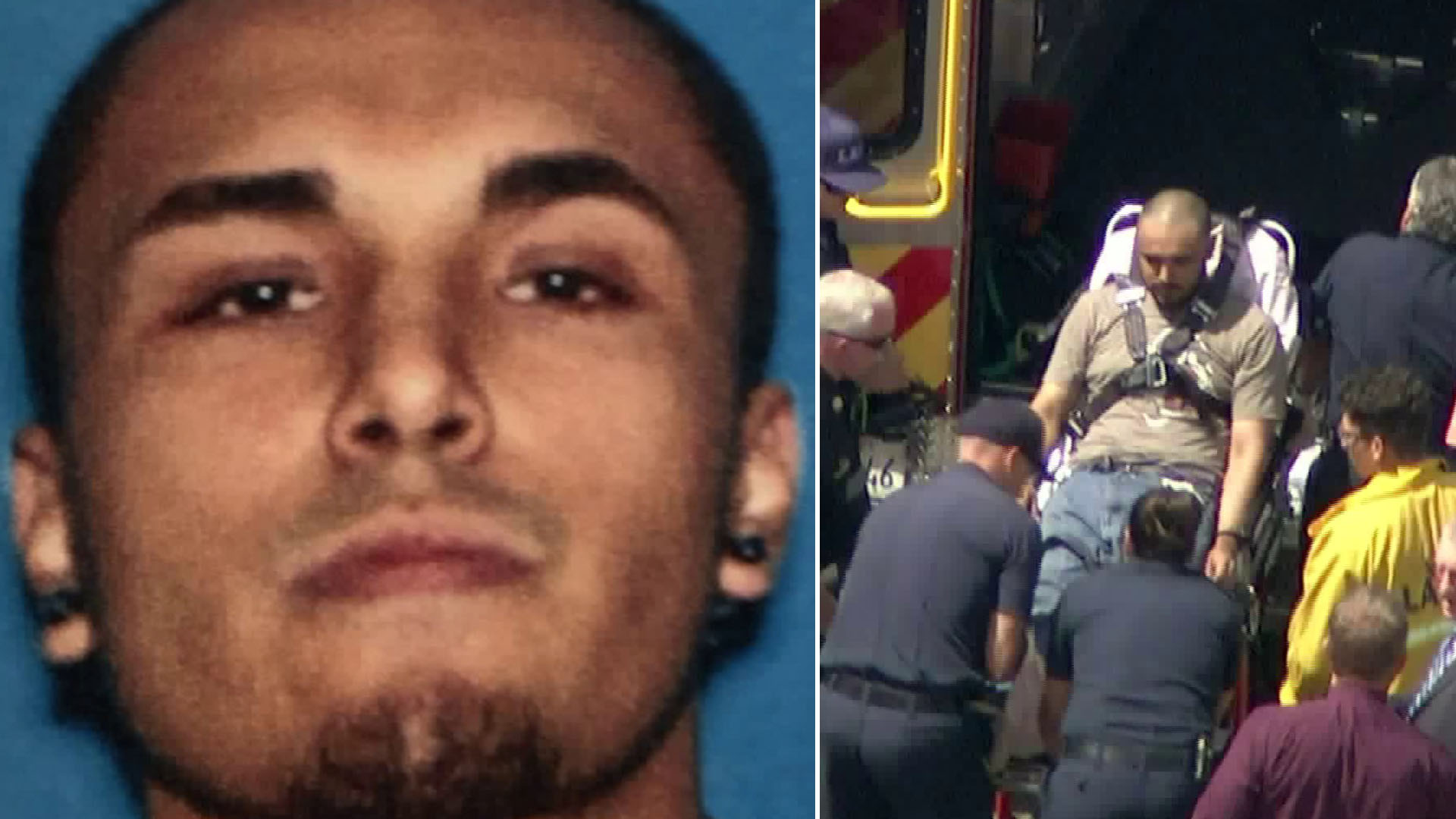 Gerry Zaragoza is seen in an image released by the Los Angeles Police Department and Officers take a man suspected of killing at least three people into custody on July 25, 2019, in Canoga Park. (Credit: KTLA)