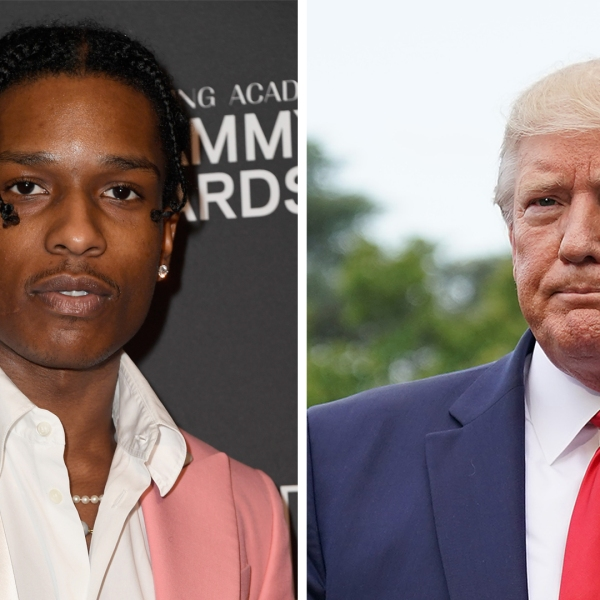A$AP Rocky is seen at the Beverly Hilton Hotel on Feb. 9, 2019, in Beverly Hills. (Credit: Frazer Harrison/Getty Images for NARAS) and Donald Trump talks to reporters as he departs the White House for a campaign rally on July 17, 2019, in Washington, DC. (Credit: Chip Somodevilla/Getty Images)