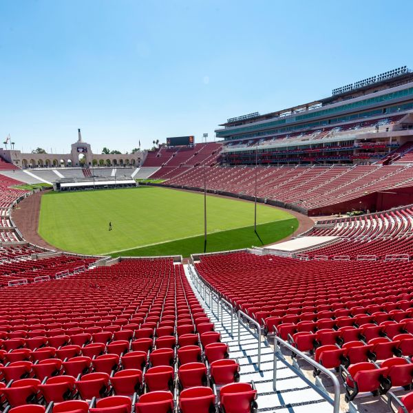The newly restored Los Angeles Memorial Coliseum is seen in a photo provided by USC.