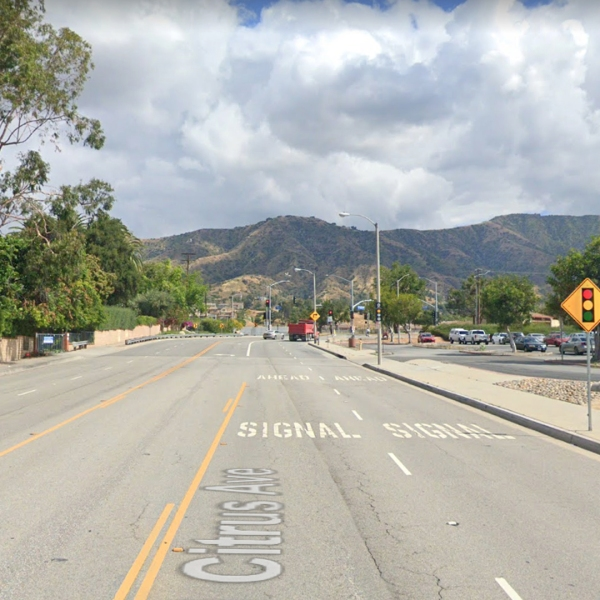 Citrus Avenue, near Foothill Boulevard, in Azusa, as pictured in a Google Street View image.