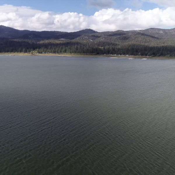 Big Bear Lake is seen in video from Drone5.