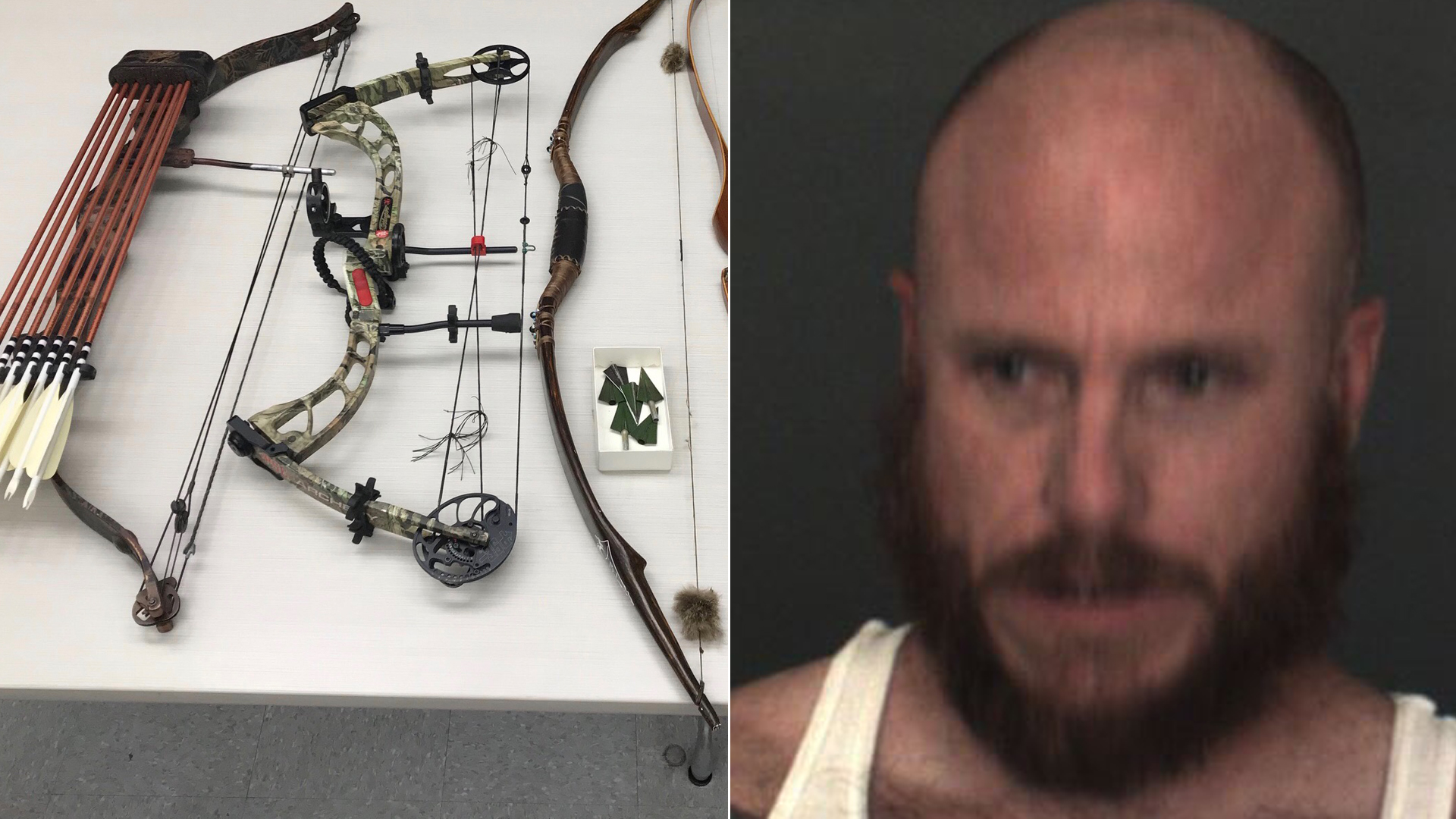Multiple bows and arrows seized from a Big Bear City residence, and Jathon Frank Musella, appear photos released by the San Bernardino County Sheriff's Department on Aug. 26, 2019.