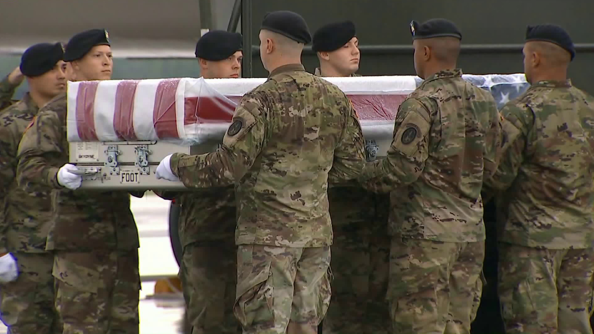 The body of Master Sgt. Jose J. Gonzalez is transferred at Dover Air Force Base in Delaware on Aug. 23, 2019, two days after he was killed during combat in northern Afghanistan. (Credit: CNN)