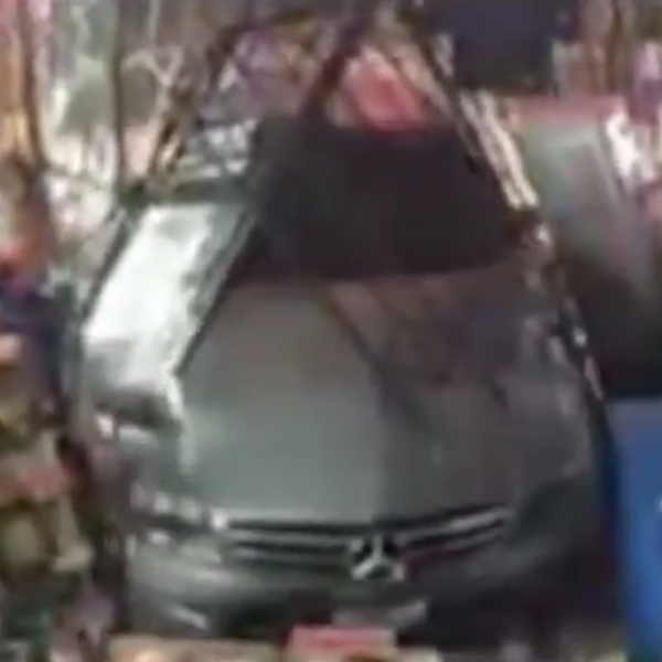 A burglar was caught on camera ramming a stolen car through the front of a Mission Viejo liquor store before fleeing with cash and lottery tickets on Aug. 3, 2019. (Credit: Orange County Sheriff's Department)