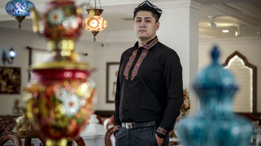 Bughra Arkin believes his father, who lives in Xinjiang, China, was arrested and placed in a reeducation camp. (Credit: Irfan Khan / Los Angeles Times)