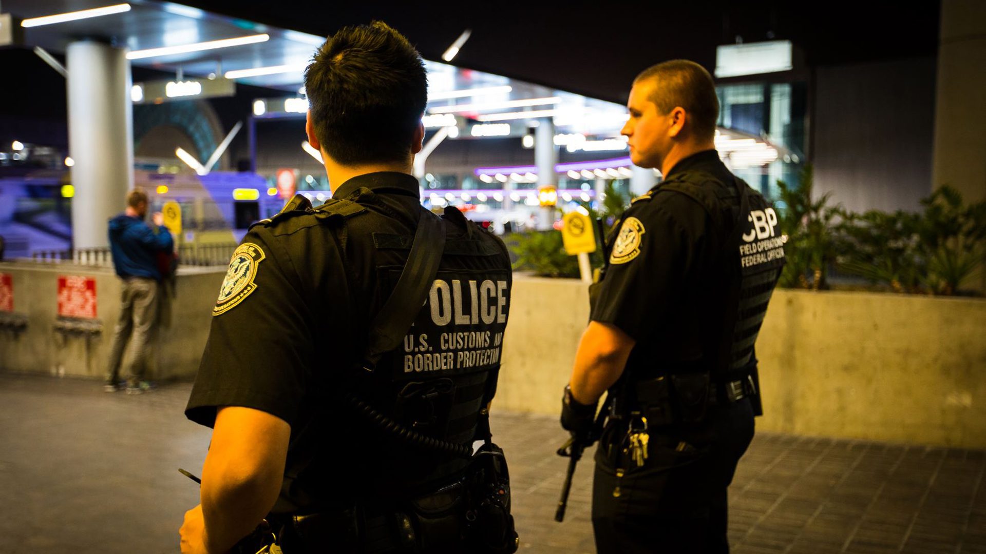CBP officers at LAX are seen in a file photo from U.S. Customs and Border Protection.