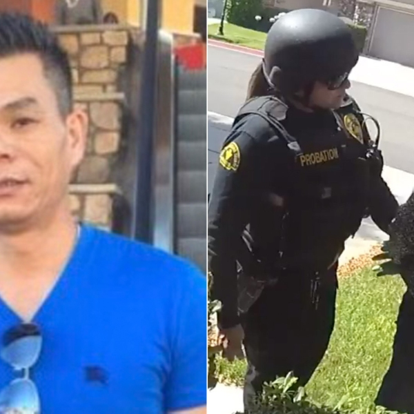 Li Xi Wang appears, left, in an undated photo released by The Cochran Firm. At right, an officer questions a woman, whose name was not released, during a search on July 3, 2019, in an image released by the Chino Police Department.
