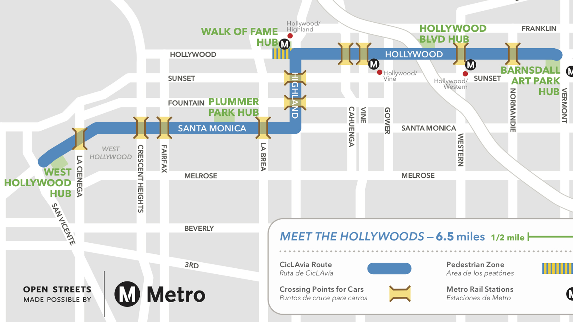 "Ciclavia released this street closures map for the ""Meet the Hollywoods"" event on Aug. 18, 2019."