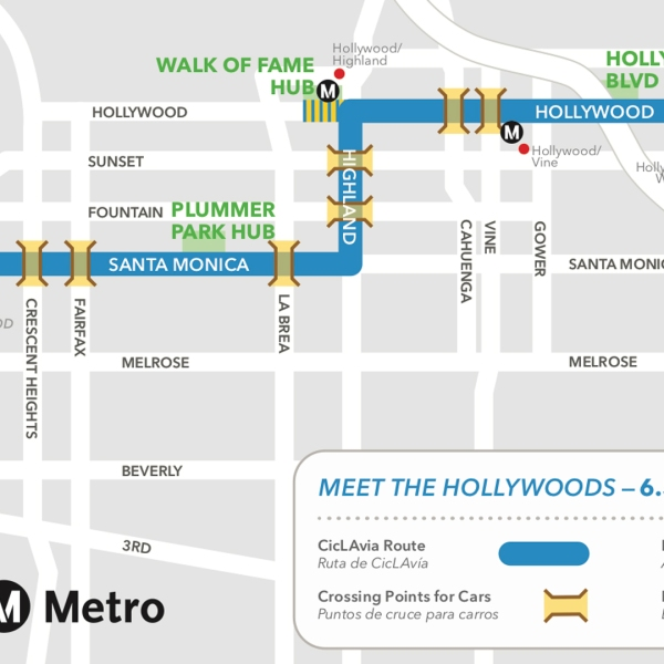 """Ciclavia released this street closures map for the """"Meet the Hollywoods"""" event on Aug. 18, 2019."""