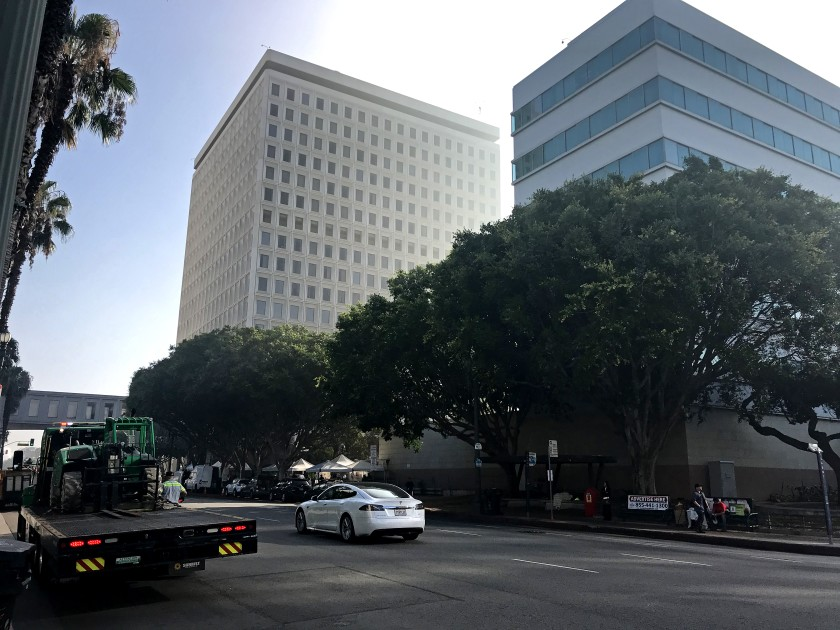 Cal/OSHA, which enforces workplace safety rules in the state, issued citations saying Los Angeles city employees were exposed to unsanitary conditions on the walkways outside City Hall East, seen in background on the left in this undated photo.(Credit: David Zahniser / Los Angeles Times)