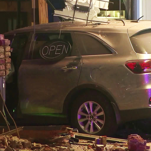 Two people were injured when a car crashed into a restaurant in Covina on Aug. 21, 2019. (Credit: RMG News)
