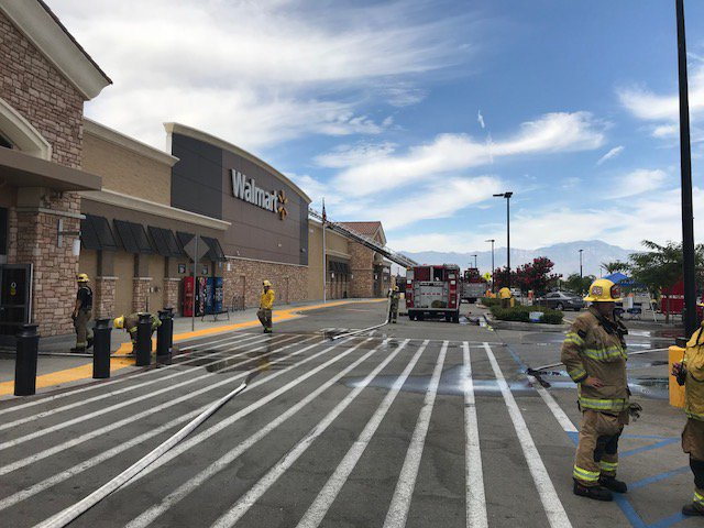 The Walmart in Indio is seen after being damaged in a fire blamed on faulty solar panels on May 29, 2018, in an image released by Cal Fire Riverside.