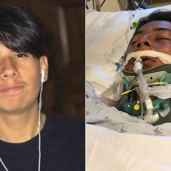 Roberto Diaz is seen in an undated photo provided by his mother, left, and a photo provided by family from his hospital bed after being critically injured in a hit-and-run crash on Aug. 6, 2019.
