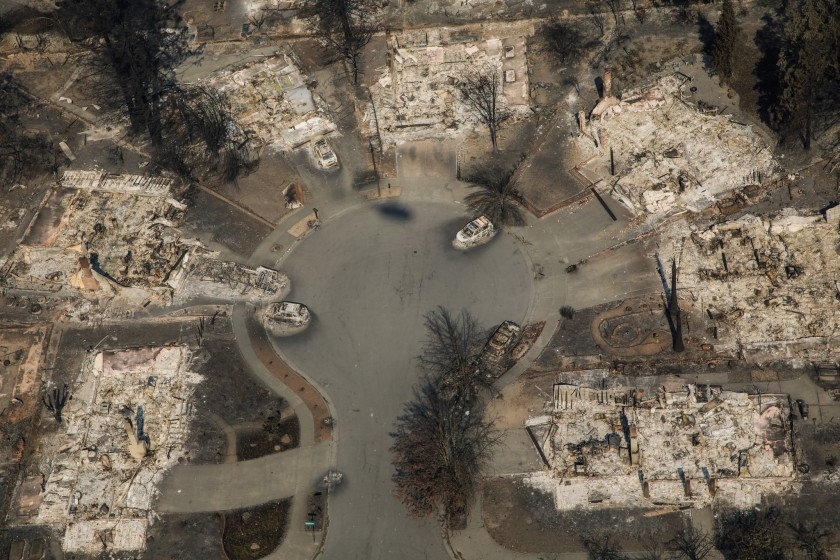 An aerial view of the Coffey Park neighborhood destroyed by wildfire in Santa Rosa in 2017.(Credit: Marcus Yam / Los Angeles Times)
