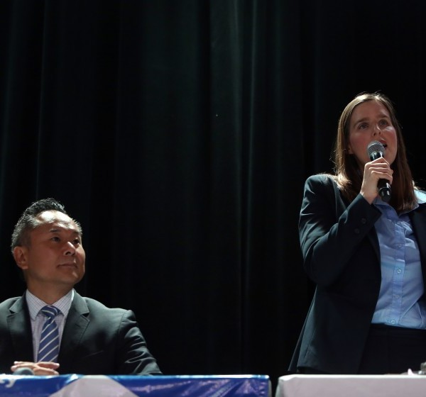 City Council candidates John Lee, left, and Loraine Lundquist appear in this undated photo. (Credit: Dania Maxwell / Los Angeles Times)