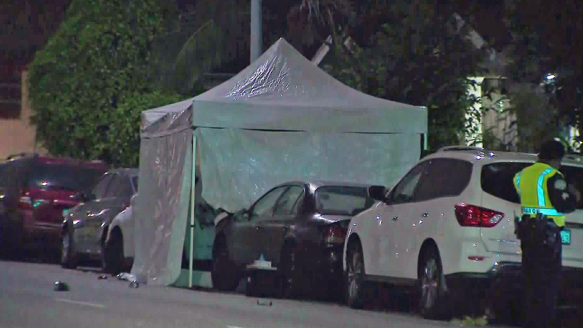 Police investigate a fatal hit-and-run crash in Vermont Square on Aug. 28, 2019. (Credit: KTLA)